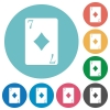 Seven of diamonds card flat round icons - Seven of diamonds card flat white icons on round color backgrounds