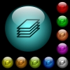 Printing papers icons in color illuminated glass buttons - Printing papers icons in color illuminated spherical glass buttons on black background. Can be used to black or dark templates