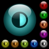 Contrast control icons in color illuminated glass buttons - Contrast control icons in color illuminated spherical glass buttons on black background. Can be used to black or dark templates