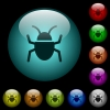 Bug icons in color illuminated glass buttons - Bug icons in color illuminated spherical glass buttons on black background. Can be used to black or dark templates