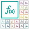 Function flat color icons with quadrant frames - Function flat color icons with quadrant frames on white background