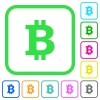 Bitcoin sign vivid colored flat icons - Bitcoin sign vivid colored flat icons in curved borders on white background