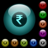 Indian Rupee sticker icons in color illuminated glass buttons - Indian Rupee sticker icons in color illuminated spherical glass buttons on black background. Can be used to black or dark templates