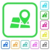 Location pin on map vivid colored flat icons - Location pin on map vivid colored flat icons in curved borders on white background