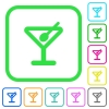Cocktail vivid colored flat icons - Cocktail vivid colored flat icons in curved borders on white background