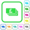 Pound banknotes vivid colored flat icons - Pound banknotes vivid colored flat icons in curved borders on white background