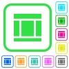 Three columned web layout vivid colored flat icons - Three columned web layout vivid colored flat icons in curved borders on white background