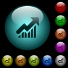 Rising graph icons in color illuminated glass buttons - Rising graph icons in color illuminated spherical glass buttons on black background. Can be used to black or dark templates