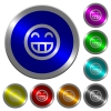 Laughing emoticon icons on round luminous coin-like color steel buttons - Laughing emoticon luminous coin-like round color buttons