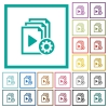 Playlist settings flat color icons with quadrant frames - Playlist settings flat color icons with quadrant frames on white background