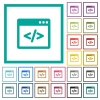 Programming code in software window flat color icons with quadrant frames - Programming code in software window flat color icons with quadrant frames on white background