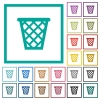 Trash flat color icons with quadrant frames - Trash flat color icons with quadrant frames on white background