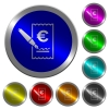 Signing Euro cheque icons on round luminous coin-like color steel buttons - Signing Euro cheque luminous coin-like round color buttons