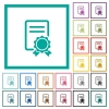 Certificate flat color icons with quadrant frames on white background - Certificate flat color icons with quadrant frames