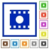 Movie record flat framed icons - Movie record flat color icons in square frames on white background