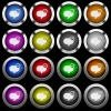 Message sent white icons in round glossy buttons on black background - Message sent white icons in round glossy buttons with steel frames on black background. The buttons are in two different styles and eight colors.