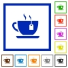 Cup of tea with teabag flat framed icons - Cup of tea with teabag flat color icons in square frames on white background