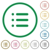 Unordered list flat icons with outlines - Unordered list flat color icons in round outlines on white background