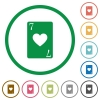 Seven of hearts card flat icons with outlines - Seven of hearts card flat color icons in round outlines on white background