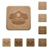 Police hat wooden buttons - Police hat on rounded square carved wooden button styles