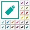 Pendrive flat color icons with quadrant frames on white background - Pendrive flat color icons with quadrant frames
