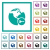 Secure internet surfing flat color icons with quadrant frames - Secure internet surfing flat color icons with quadrant frames on white background