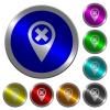 Cancel GPS map location luminous coin-like round color buttons - Cancel GPS map location icons on round luminous coin-like color steel buttons