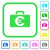 Euro bag vivid colored flat icons - Euro bag vivid colored flat icons in curved borders on white background