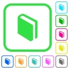 Single book vivid colored flat icons - Single book vivid colored flat icons in curved borders on white background