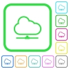 Cloud network vivid colored flat icons - Cloud network vivid colored flat icons in curved borders on white background