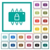Hardware locked flat color icons with quadrant frames on white background - Hardware locked flat color icons with quadrant frames