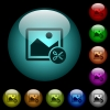 Cut image icons in color illuminated glass buttons - Cut image icons in color illuminated spherical glass buttons on black background. Can be used to black or dark templates