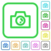 Camera vivid colored flat icons in curved borders on white background - Camera vivid colored flat icons