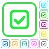 Checkbox vivid colored flat icons - Checkbox vivid colored flat icons in curved borders on white background