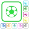 Soccer ball vivid colored flat icons - Soccer ball vivid colored flat icons in curved borders on white background
