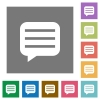Message box with rows square flat icons - Message box with rows flat icons on simple color square backgrounds