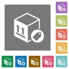 Package labeling square flat icons - Package labeling flat icons on simple color square backgrounds