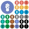 Energy saving fluorescent light bulb round flat multi colored icons - Energy saving fluorescent light bulb multi colored flat icons on round backgrounds. Included white, light and dark icon variations for hover and active status effects, and bonus shades on black backgounds.