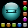 RAM module icons in color illuminated glass buttons - RAM module icons in color illuminated spherical glass buttons on black background. Can be used to black or dark templates