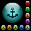 Anchor icons in color illuminated glass buttons - Anchor icons in color illuminated spherical glass buttons on black background. Can be used to black or dark templates