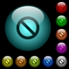 Blocked icons in color illuminated glass buttons - Blocked icons in color illuminated spherical glass buttons on black background. Can be used to black or dark templates