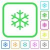 Single snowflake vivid colored flat icons - Single snowflake vivid colored flat icons in curved borders on white background
