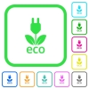 Eco energy vivid colored flat icons icons - Eco energy vivid colored flat icons in curved borders on white background