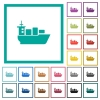 Sea transport flat color icons with quadrant frames - Sea transport flat color icons with quadrant frames on white background