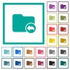 Parent directory flat color icons with quadrant frames - Parent directory flat color icons with quadrant frames on white background