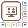 Online gambling simple icons in color rounded square frames on white background - Online gambling simple icons
