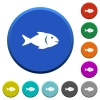 Fish beveled buttons - Fish round color beveled buttons with smooth surfaces and flat white icons