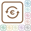 Euro pay back simple icons - Euro pay back simple icons in color rounded square frames on white background