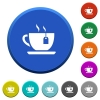 Cup of tea with teabag beveled buttons - Cup of tea with teabag round color beveled buttons with smooth surfaces and flat white icons