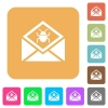 Open mail with malware symbol rounded square flat icons - Open mail with malware symbol flat icons on rounded square vivid color backgrounds.